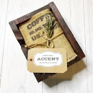 Rustic Table Accent Wooden Box Pine Moss Burlap